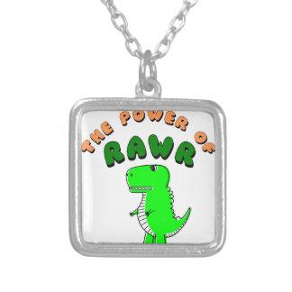 Collar Plateado T-Rex el poder de RAWR