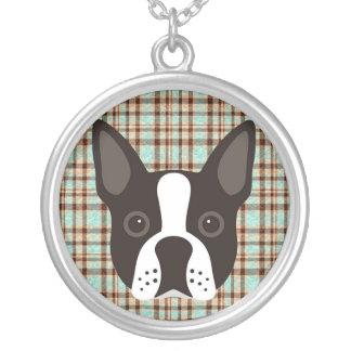 Collar Plateado Tela escocesa de tartán del perro de perrito de