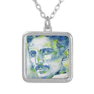 Collar Plateado tesla del nikola - acuarela portrait.1
