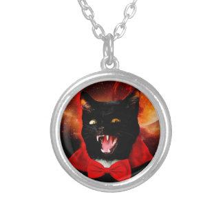 Collar Plateado vampiro del gato - gato negro - gatos divertidos