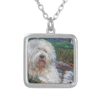 Collar Plateado Vieja pintura inglesa hermosa del arte del perro