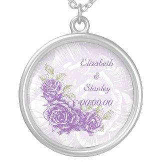 Collar púrpura del personalizado de los rosas del