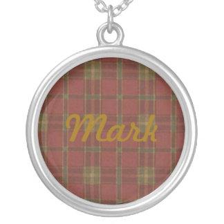 Collar rojo del nombre de la tela escocesa