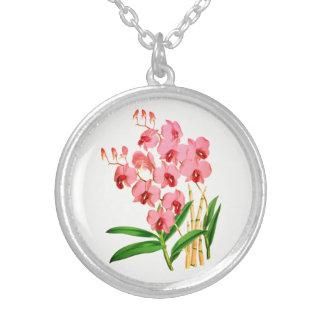 Collar rosado exótico del colgante de la orquídea