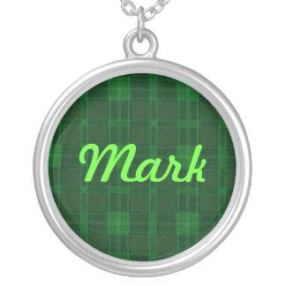 Collar verde del nombre de la tela escocesa