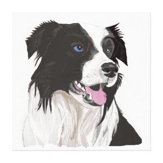 Collie blanco y negro con el retrato de los ojos lienzo
