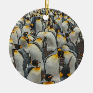 Colonia del pingüino de rey, Malvinas Adorno Navideño Redondo De Cerámica
