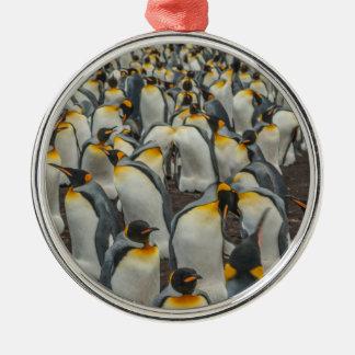 Colonia del pingüino de rey, Malvinas Adorno Navideño Redondo De Metal