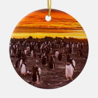 Colonia en la puesta del sol, Malvinas del Adorno Navideño Redondo De Cerámica