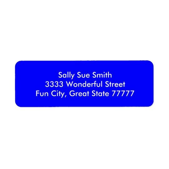 Color azul brillante animoso etiqueta de remitente