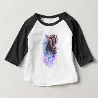 Color de agua del gato del rugido camiseta de bebé