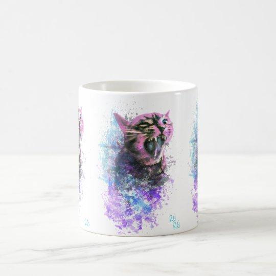 Color de agua del gato del rugido taza de café