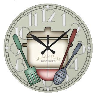 Color de cocinar lindo del personalizado de los reloj redondo grande