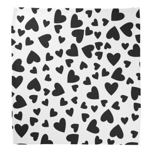 Color de fondo de encargo de los corazones negros bandanas | Zazzle