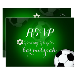 Color de la barra Mitzvah/DIY del fútbol del rsvp Invitación 8,9 X 12,7 Cm