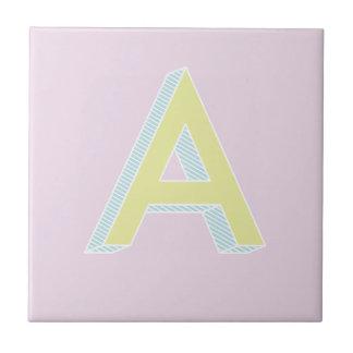 Color de malva A del alfabeto Azulejo De Cerámica