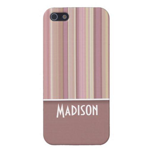 Color de malva linda, rayas de Brown iPhone 5 Cárcasas