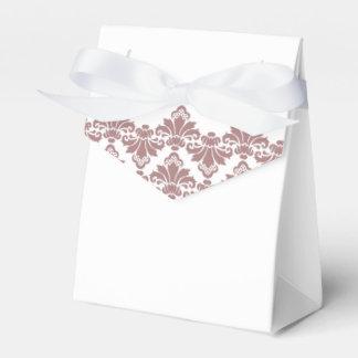 Color de malva oscura 2 del damasco del boda de la caja de regalos