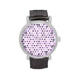 Color de malva, púrpura violeta, lunares blancos relojes de pulsera