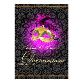 ¡Color de PixDezines Quincenera Magenta DIY Invitación Personalizada
