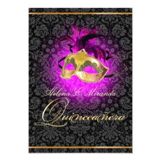 ¡Color de PixDezines Quincenera/Magenta/DIY!! Invitación 12,7 X 17,8 Cm