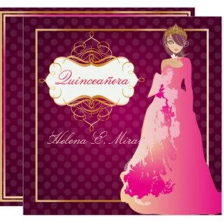 Color de QUINCEANERA/QUINCE ANOS PRINCESS/DIY Invitación 13,3 Cm X 13,3cm