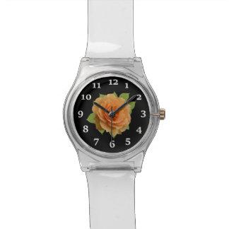 Color de rosa anaranjado reloj de pulsera