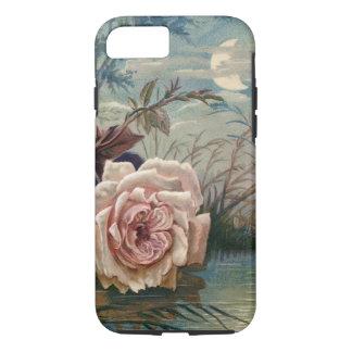 Color de rosa de medianoche y luna del vintage funda iPhone 7