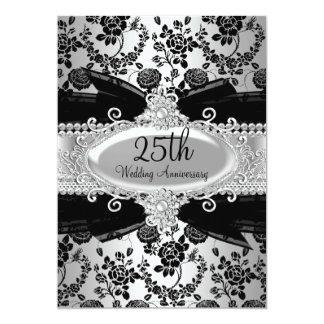 Color de rosa de plata negros y Jewel el 25to Invitación 12,7 X 17,8 Cm