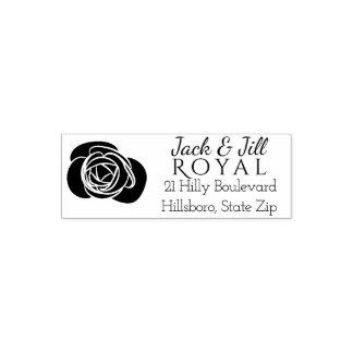 Color de rosa elegante del remite el   del boda de sello automático