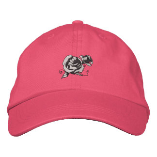 Color de rosa gorra bordada