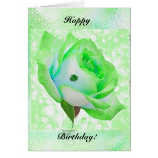 ¡Color de rosa irlandés y cumpleaños! Tarjeta De Felicitación