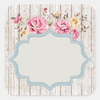 Color de rosa lamentable rústico en blanco - pegatina cuadrada