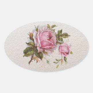 Color de rosa lindo del vintage femenino rosado pegatina ovalada