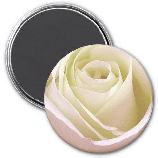 Color de rosa nupcial blanco imán redondo 7 cm