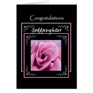 Color de rosa rosado de la enhorabuena del boda de tarjeta de felicitación