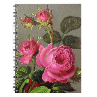 Color de rosa rosado del vintage cuaderno