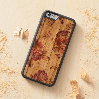 Color de rosa rústico romántico en el caso de funda protectora de cerezo para iPhone 6 de carved