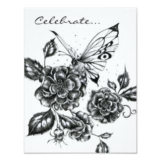 Color de rosa salvaje y mariposa anuncio