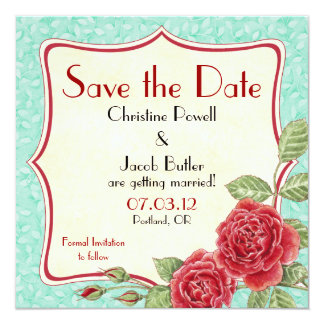 Color de rosa trepador - ahorre la fecha invitación 13,3 cm x 13,3cm