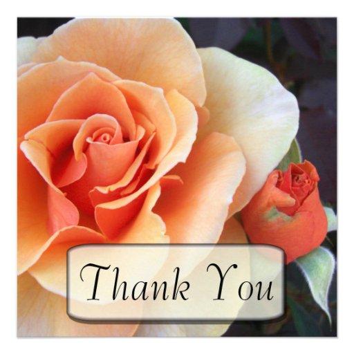 Color de rosa y capullo de rosa gracias las tarjet anuncios personalizados