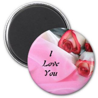 Color de rosa y seda imán redondo 5 cm