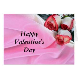 Color de rosa y seda tarjeta de felicitación