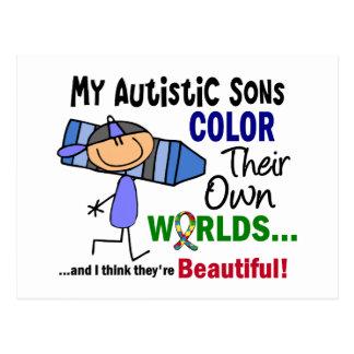 COLOR del autismo SUS PROPIOS hijos de los MUNDOS Postal