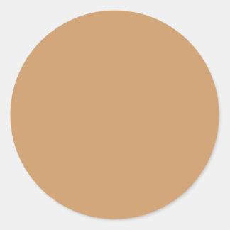 Color del moreno del oro pegatina redonda