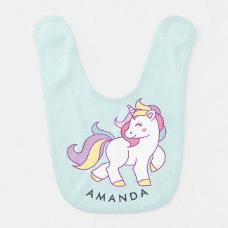 Color en colores pastel del unicornio mágico lindo baberos de bebé