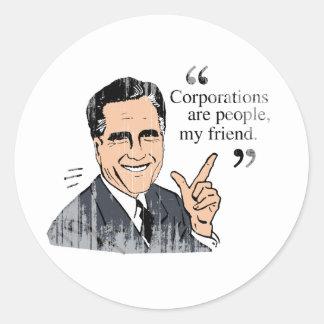 Color Faded.png de las citas de Mitt Romney Pegatina Redonda