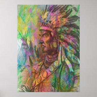 Color indio del clipart del nativo americano antig impresiones