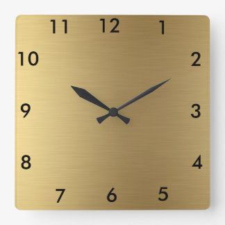 Color oro cuadrado del reloj de pared