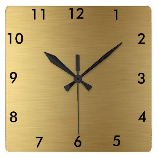 ef9815e9f93e Color oro cuadrado del reloj de pared